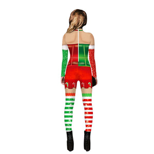 Funny Ugly Christmas Clown Cosplay Costume Print Tight Stretch Jumpsuit Pants Pajamas Onesies