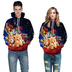 Funny Cat Print Pullover Hoodie Long Sleeve Sweatshirt Jacket Coat with Pockets