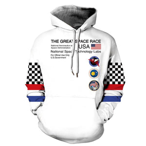 Funny NASA Astronaut Space Suit Pullover Hoodie with Big Pockets Sweatshirt Jacket Coat