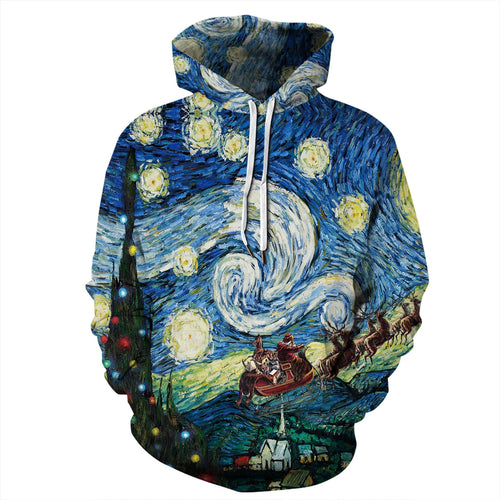 Oil Painting Print Funny Christmas Hoodie Casual Sweatshirt Jacket