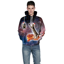 Load image into Gallery viewer, Cat Print Funny Christmas Hoodie Long Sleeve Casual Sweatshirt Jacket