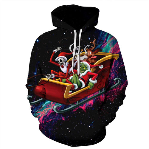 Funny The Grinch Print Christmas Hoodie Casual Sweatshirt