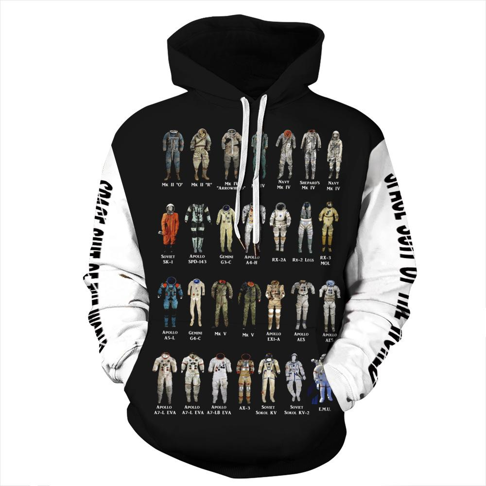 Funny Astronaut Space Suit Pullover Hoodie with Big Pockets Sweatshirt Jacket Coat