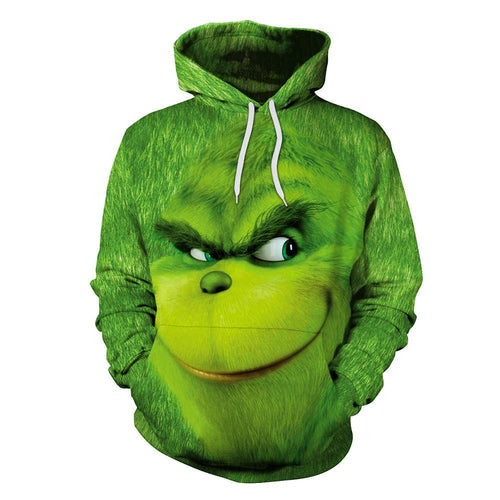 The Grinch Hoodie Christmas Green Monster Print Hoodie Sweatshirt Jacket Costume