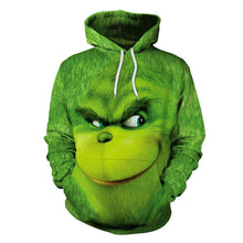 Load image into Gallery viewer, The Grinch Hoodie Christmas Green Monster Print Unisex Long Sleeve Hoodie