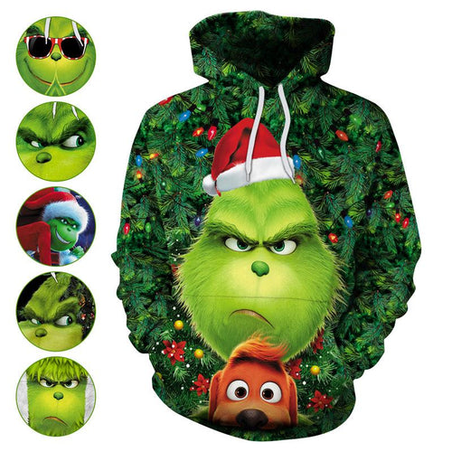 The Grinch Hoodie Christmas Green Monster Print Unisex Long Sleeve Hoodie Sweatshirt Jacket