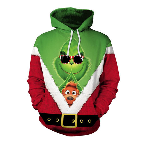The Grinch Hoodie Funny Christmas Green Monster Print Unisex Long Sleeve Hoodie Sweatshirt Jacket
