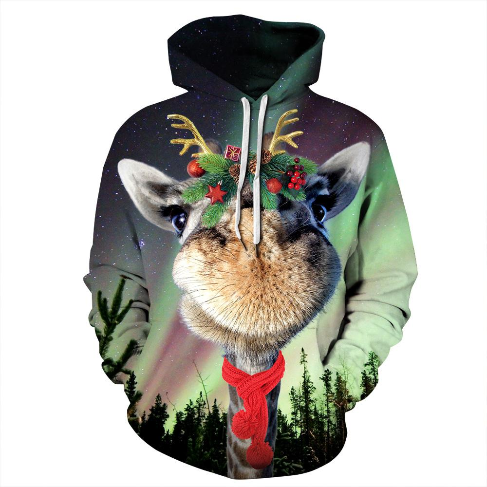 Alpaca Print Funny Christmas Hoodie Long Sleeve Casual Sweatshirt Jacket