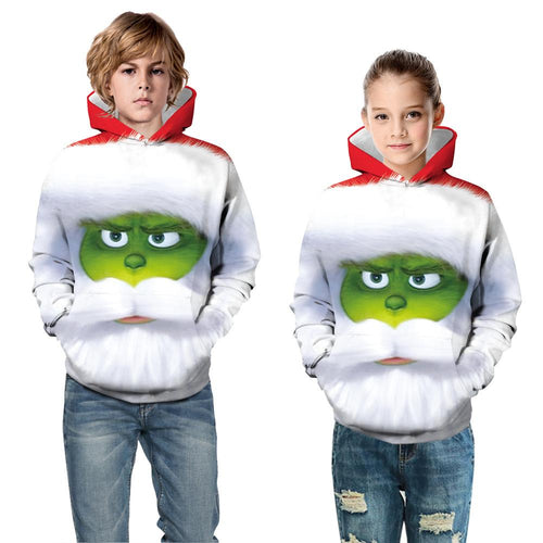 The Grinch Kid Christmas Children Hooded Sweater Long Sleeve Hoodies