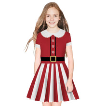 Load image into Gallery viewer, Children 3D Christmas Print Round Neck Fluffy Kid Dress