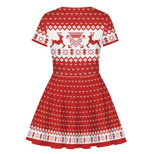 Load image into Gallery viewer, Children 3D Christmas Reindeer Print Round Neck Fluffy Kid Dress