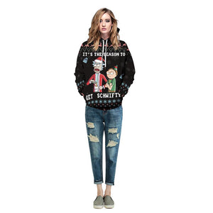 Rick and Morty Funny Christmas Hoodie Long Sleeve Casual Sweatshirt Jacket