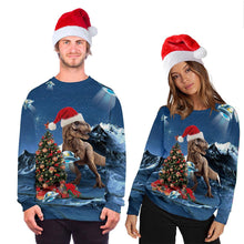 Load image into Gallery viewer, Christmas Dinosaur Print Shirt Ugly Christmas Sweater Pullover Sweatshirts