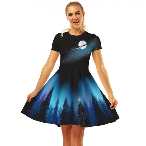 Galaxy Print Women Fashion Dresses Casual A Line Dresses