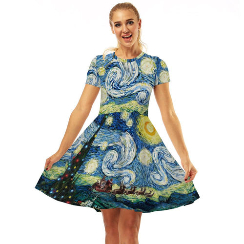 Oil Painting Print Women Fashion Dresses Casual A Line Midi Dresses
