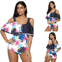 Load image into Gallery viewer, Women Fish Leaf Print Ruffled One Piece Swimsuits Cute Sexy Bikini Swimwear Bathing Suit