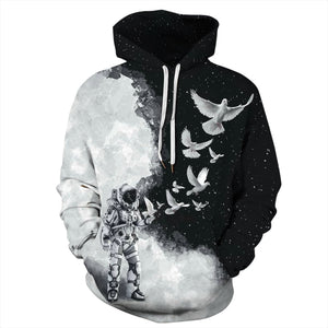 Big and Tall 3D Space Astronaut Print Loose Hoodie Sweatshirt Jacket For Men Women