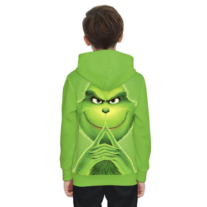 The Grinch Print Funny Christmas Hoodie Casual Ugly Sweatshirt Jacket Coat Outerwear For Kids