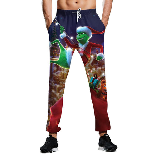 The Grinch Print Funny Christmas Pants Casual Ugly Christmas  Sweatpants For Men Women