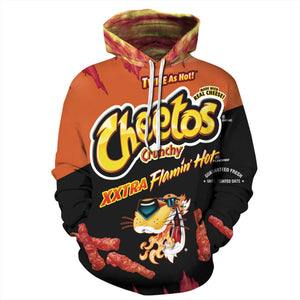Big and Tall 3D Cheetos Snacks Print Loose Hoodie Sweatshirt Jacket For Men Women