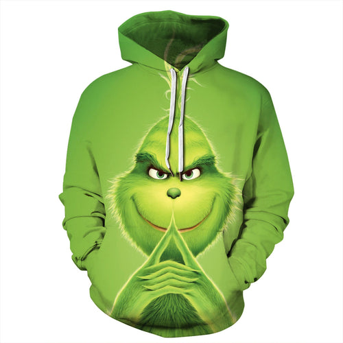 How The Grinch Stole Christmas Hoodie Long Sleeve Casual Sweatshirt Jacket Coat