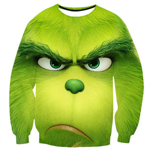 The Grinch Print Funny Christmas Sweatshirt Casual Ugly Sweatshirt Jacket Coat Outerwear For Men Women