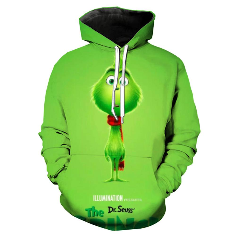 The Grinch Print Funny Christmas Hoodie Casual Ugly Sweatshirt Jacket Coat Outerwear For Men Women
