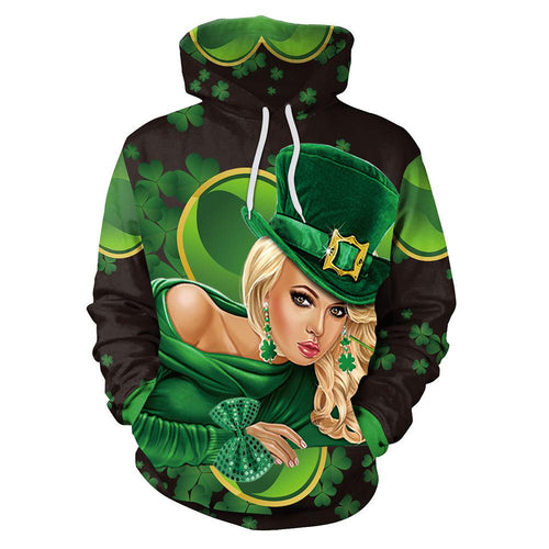 3D St. Patrick's Day Sexy Lady Print Shamrock Men Shirt Party Hoodie Sweatshirt Jacket Coat For Men Women
