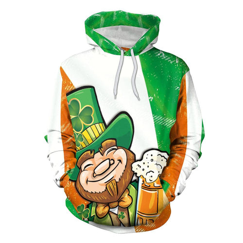 3D St. Patrick's Day Funny Print Shamrock Beer Men Party Shirt Hoodie Sweatshirt Jacket Coat