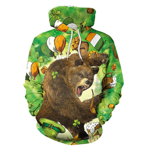 3D St. Patrick's Day Angry Bear Print Shamrock Men Shirt Party Hoodie Sweatshirt Jacket Coat