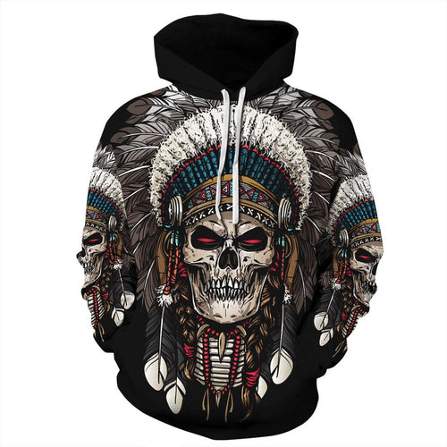 Big and Tall 3D Native American Indian Chief Print Loose Hoodie Sweatshirt Jacket For Men Women