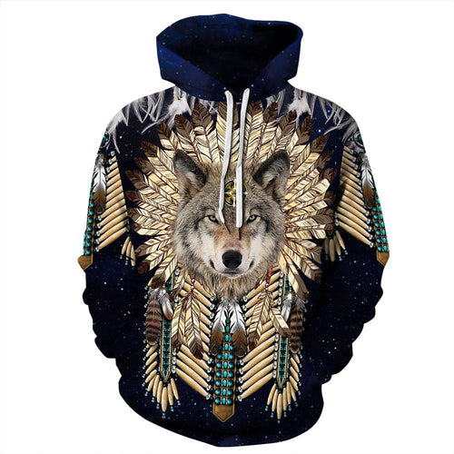 Big and Tall 3D Native American Indian Wolf Print Loose Hoodie Sweatshirt Jacket For Men Women