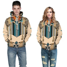 Load image into Gallery viewer, Big and Tall 3D Native American Indian Print Loose Hoodie Sweatshirt Jacket For Men Women