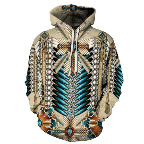 Big and Tall 3D Native American Indian Print Loose Hoodie Sweatshirt Jacket For Men Women