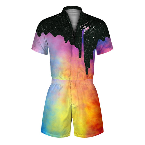 3D Splash Ink Galaxy Printed Men Beach Romper Fashion One Piece Zip Short Sleeve Overall Onesie Pants with Pocket