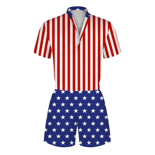 3D American Flag Printed Men Romper Fashion Funny Zip Short Sleeve Overall Onesie with Pocket