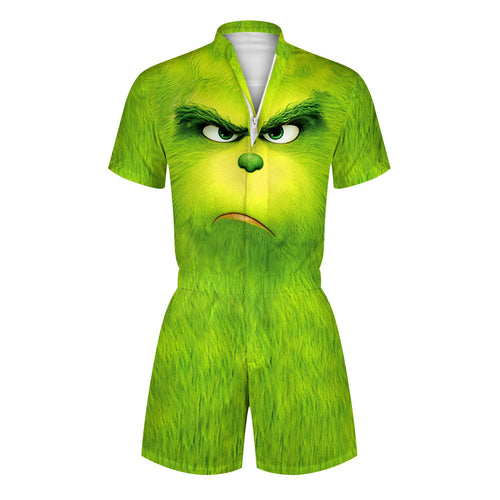 3D The Grinch Printed Men Romper Fashion Funny Zip Short Sleeve Overall Onesie with Pocket
