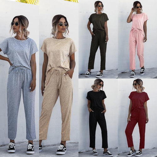 Women Casual Plain Round Neck Short Sleeve T-Shirt + Pants Two Piece Set Outfit