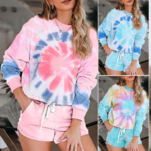 Women Tie Dye Knit Multicolor Two Piece Set T-shirt + Short Tie Dye Home Wear Pajamas Set