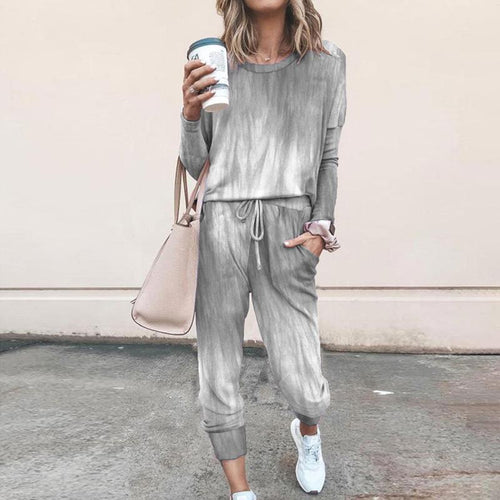 Women Two Piece T-Shirt + Pants Set Loose Long Sleeve Casual Suit