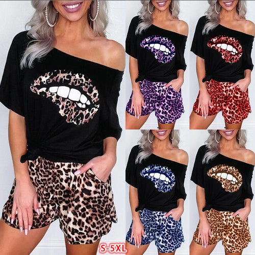Women's Two Piece Set Leopard-print Lip Diagonal Shoulder T-shirt and Shorts Set