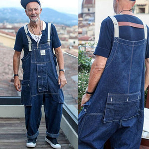 Men Denim Loose One-piece Bib Overalls Coveralls Workwear Jumpsuits Jeans Pants