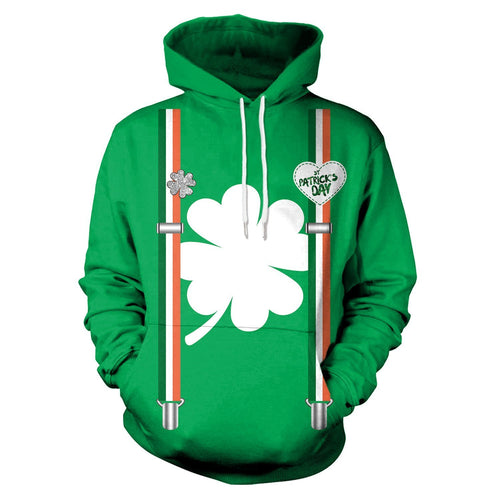 3D St. Patrick's Day Funny Print Shamrock Men Shirt Party Hoodie Sweatshirt Jacket Coat