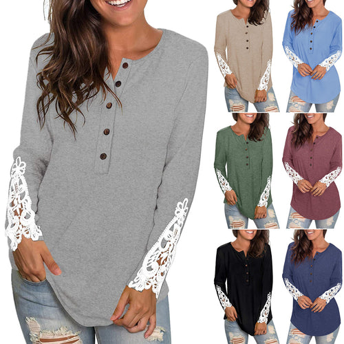 Womens Long Sleeve Round Neck Solid Color Lace Buttons Henley Shirts Tunic Tops