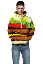 Load image into Gallery viewer, Fashion Print Hamburger Sweater Loose Hoodie