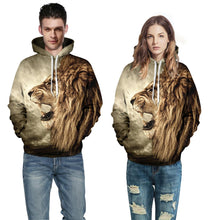 Load image into Gallery viewer, Hip Hop Couple 3D Lion Animal Printed hoodie