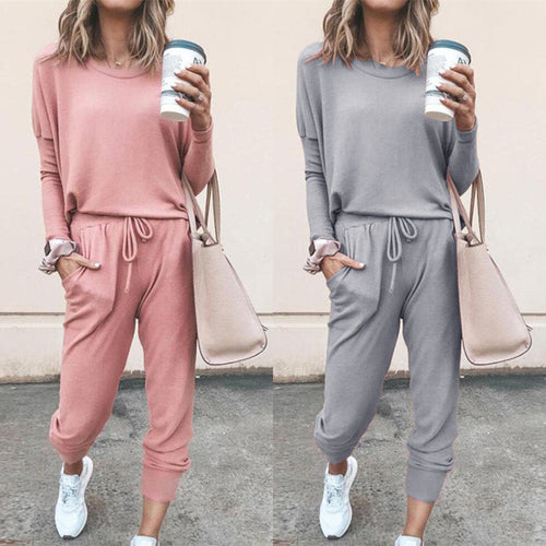 Women Two Piece T-Shirt + Pants Set Loose Solid Color Long Sleeve Casual Suit