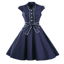 Load image into Gallery viewer, 1950s Retro Rockabilly Dress Cap Sleeve Vintage Swing Dress