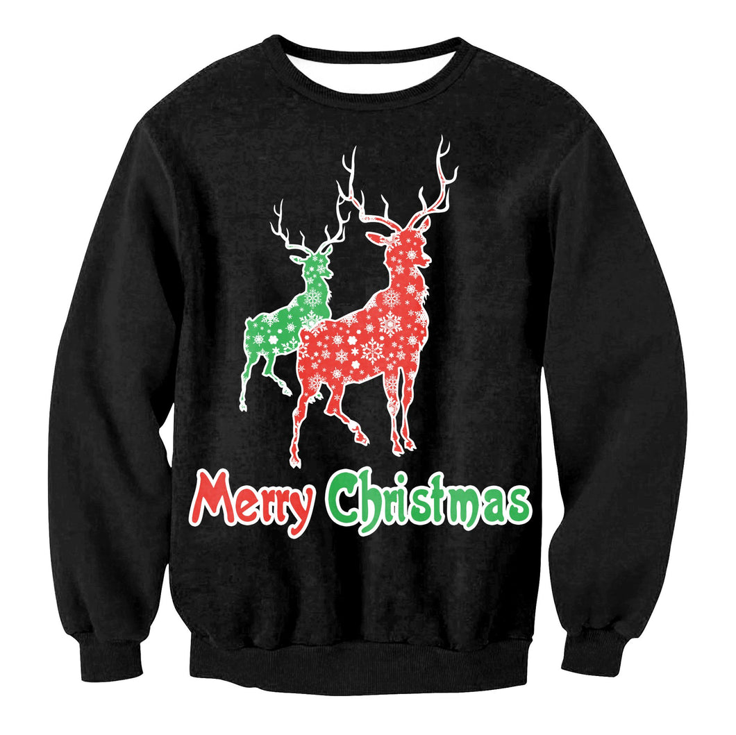 Elk Print Long Sleeve Round Neck Loose Christmas Sweatshirt