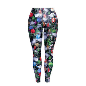 Christmas Element Print Slim-fit X-mas Leggings